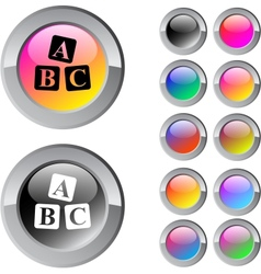 ABC cubes multicolor round button vector
