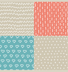 Abstract handdrawn seamless patterns set simple vector