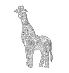 Art for coloring book page with cartoon giraffe vector