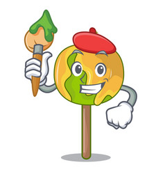 artist candy apple character cartoon vector image