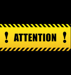 Attention with exclamation mark black and yellow vector