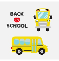 Back to school Yellow bus set Cartoon clipart vector