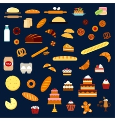 Bakery pastry and confectionery flat icons vector image