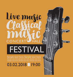 Banner for festival live music with a guitar neck vector