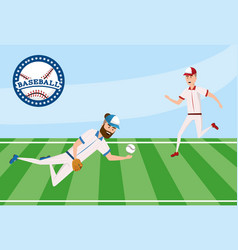 baseball player competition in the field with vector image