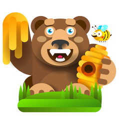 bear with honey in nature vector image