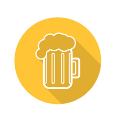 Beer glass flat linear long shadow icon vector