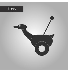 Black and white style toy duck vector