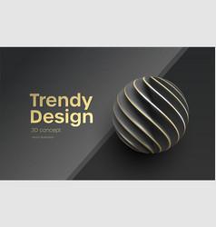Black paper cut 3d realistic layered sphere vector