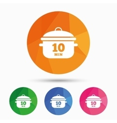 Boil 10 minutes Cooking pan sign Stew food vector image