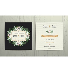 Botanical Leaves Flowers Invitation Card vector image