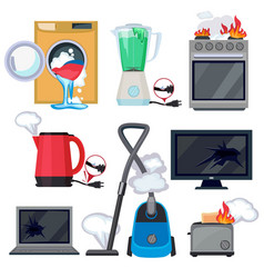 broken appliance damage kitchen home items tv vector image