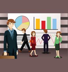 business people walking among large screens vector image
