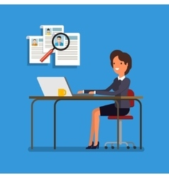 Business woman choosing person for hiring vector image