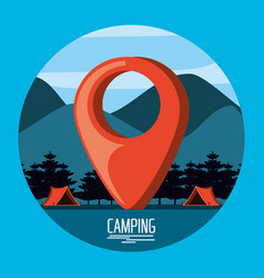 Camping zone with tents and pin pointer location vector