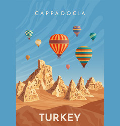 cappadocia hot air balloon flight travel turkey vector image
