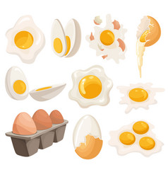 Cartoon eggs isolated on white background set of vector