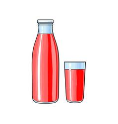 Cartoon glass bottle cup of fruit juice vector