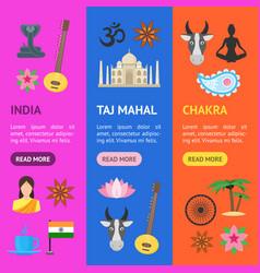 cartoon india banner vecrtical set vector image