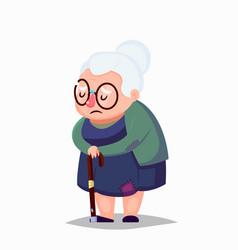 Cartoon poor senior woman in old clothes vector