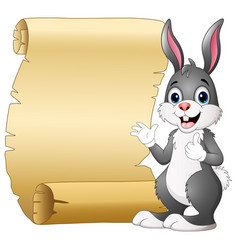 cartoon rabbit and scroll paper vector image
