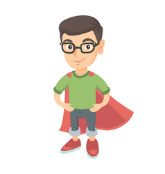 Caucasian brave boy wearing superhero costume vector