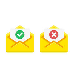 check mark icon in mail envelope vector image