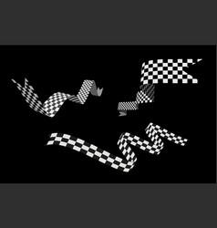 checkered racing flag ribbon set vector image