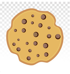 Chocolate chip cookie foods flat icon for apps vector