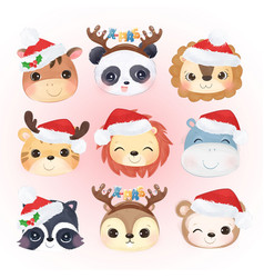 christmas decoration with cute animals vector image