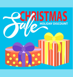 christmas sale holidays discount presents banner vector image