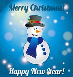 Christmas snowman A greeting card Congratulations vector image