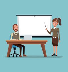 Color background executive man sitting in desk an vector