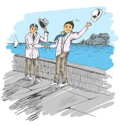 Comic strip two mens met by a sea friendly vector
