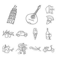 Country italy outline icons in set collection for vector