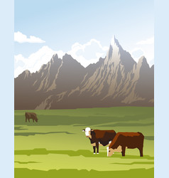 Cows in a meadow vector