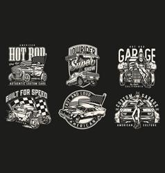 Custom cars monochrome vintage emblems vector
