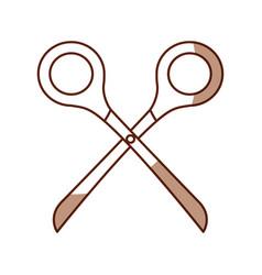 cute shadow scissors cartoon vector image