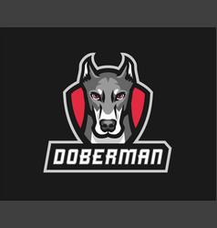 Doberman logo template vector