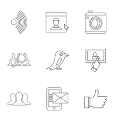 E-mail icons set outline style vector