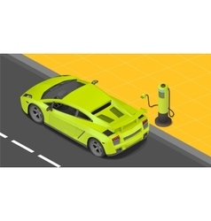 Electric sport coupe car charging vector image