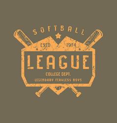 Emblem softball team vector