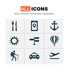 exploration icons set with air balloon tourist vector image