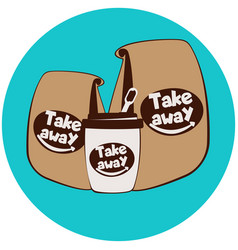 fast food disposable cup and paper bags vector image