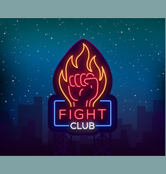 Fight neon sign light night billboard isolated vector