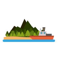 fishing boat on island vector image