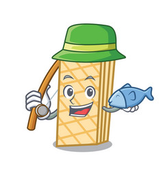 fishing waffle mascot cartoon style vector image