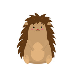Funny cute hedgehog sitting and looking at viewer vector