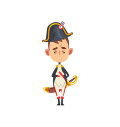 Funny napoleon bonaparte cartoon character comic vector