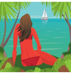 Girl sitting on the beach and watching the boat vector